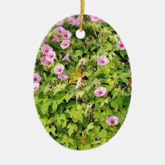 Pink Morning Glories Bush Ceramic Oval Ornament