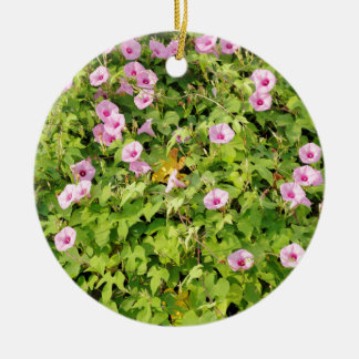 Pink Morning Glories Bush Round Ceramic Ornament