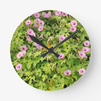 Pink Morning Glories Bush Round Clock