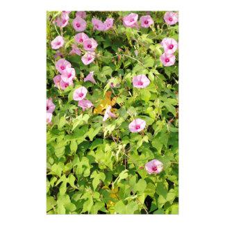 Pink Morning Glories Bush Stationery