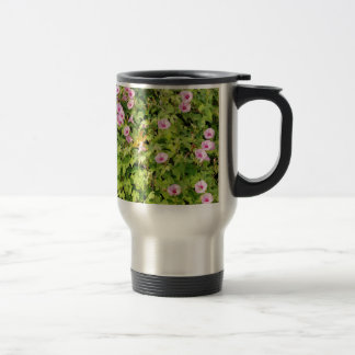 Pink Morning Glories Bush Travel Mug