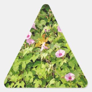 Pink Morning Glories Bush Triangle Sticker