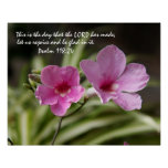 Pink Morning Glory w/ Verse from Psalm 118:24 Poster