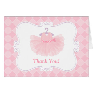 Pink Moroccan Ballerina Tutu Girl Thank You Card