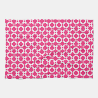 Pink Moroccan Geometric Design Kitchen Towel