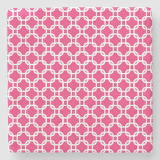 Pink Moroccan Geometric Design Marble Stone Coaster