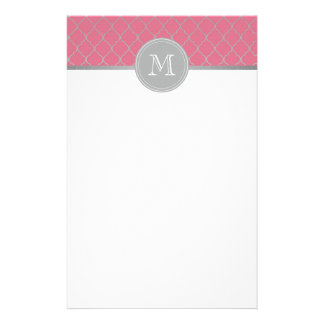 Pink Moroccan monogramed Stationery Paper