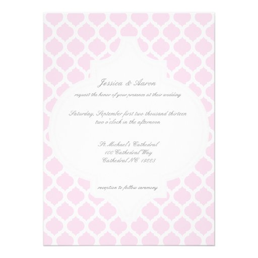 Pink Moroccan Pattern Wedding Invitations