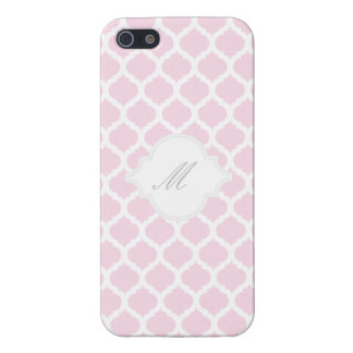 Pink Moroccan Pattern with Monogram iPhone 5 Cases