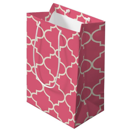 Pink Moroccan Quatrefoil Pattern Gift Bag