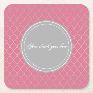 Pink moroccan square paper coaster