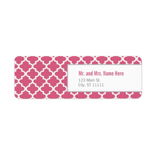 Pink Moroccan Tiles Return Address Label