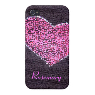 pink mosaic heart covers for iPhone 4