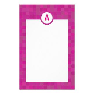Pink mosaic initial letter stationery