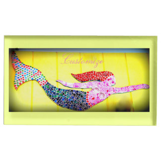 pink mosaic mermaid swimming table card holders