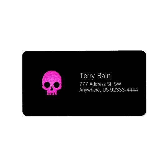Pink Mosaic Skull Label