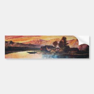 PINK MOUNTAINS LAKE ALPINE SUNSET LANDSCAPE BUMPER STICKER