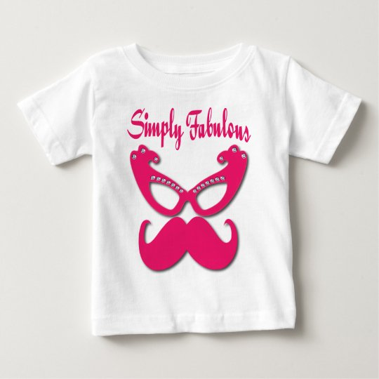 Pink Moustache and Pink Glasses Simply Fabulous Baby T-Shirt