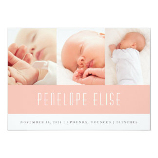 Pink multi-photo baby girl birth announcement card