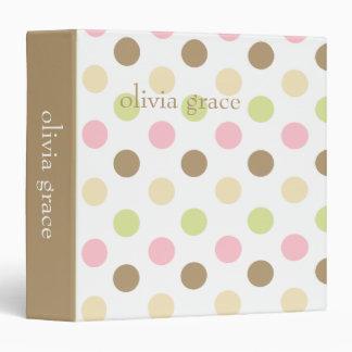 Pink Multi Polkadots Vinyl Binder