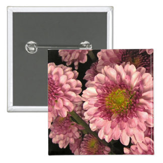 Pink Mums 2 Inch Square Button