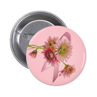 PINK MUMS & RIBBON by SHARON SHARPE 2 Inch Round Button