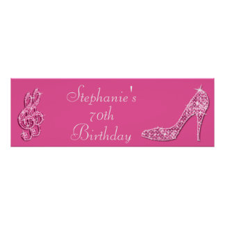 Pink Music Note and Stiletto 70th Birthday Poster
