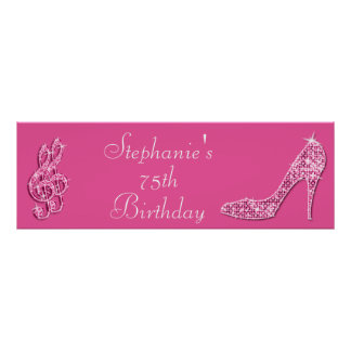 Pink Music Note and Stiletto 75th Birthday Poster