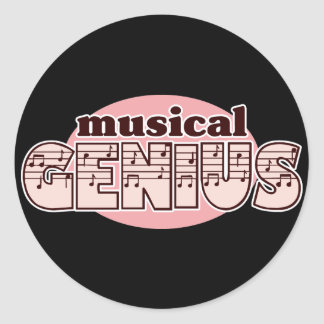 Pink Musical Genius Classic Round Sticker