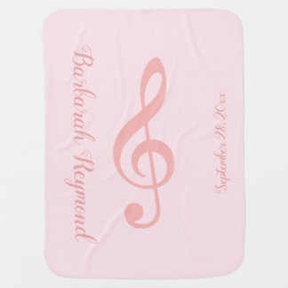pink musical note / treble clef baby blanket