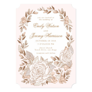 Pink Musk Rose Crown Vintage Wedding Invitation