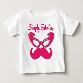 Pink Mustache and Pink Glasses Simply Fabulous Baby T-Shirt