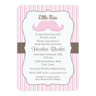 Pink Mustache Little Miss Baby Shower Card