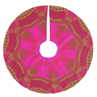 Pink n Gold Gingham Brushed Polyester Tree Skirt