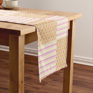 Pink n Green Country Chevron and Floral Checkered Short Table Runner