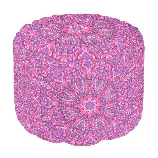 Pink n Purple Kaleidoscope    Round Pouf