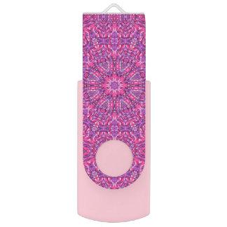 Pink n Purple  Kaleidoscope USB Flash Drive Swivel USB 2.0 Flash Drive