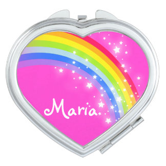 Pink name rainbow heart mirror compact