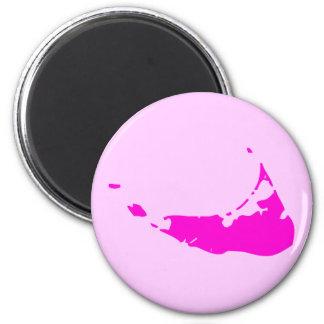 Pink Nantucket Island 2 Inch Round Magnet