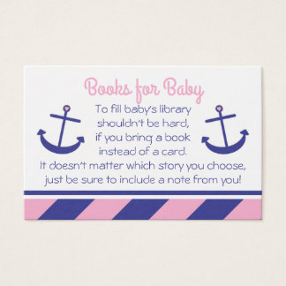Pink Nautical Anchor Baby Shower Bring a Book Card
