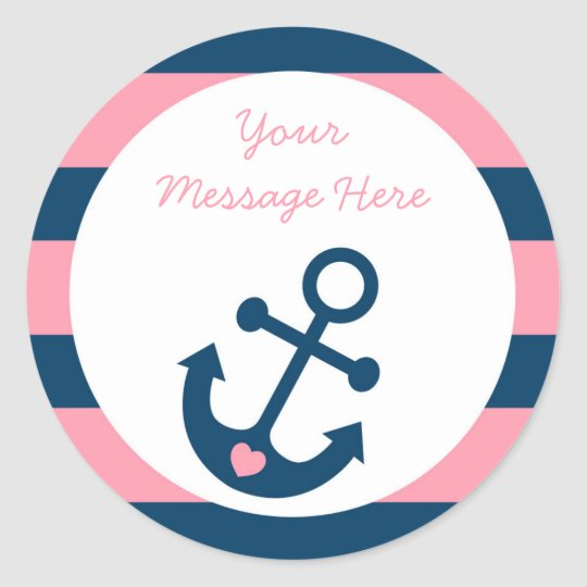 Pink Nautical Anchor Baby Shower Classic Round Sticker