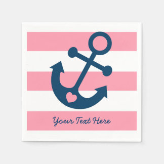Pink Nautical Anchor Baby Shower Disposable Napkin