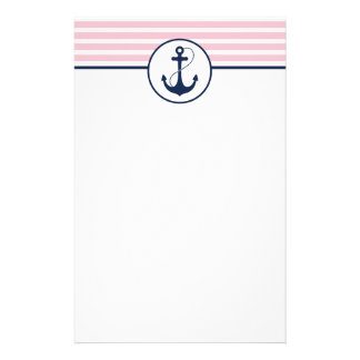 Pink Nautical Anchor Stationery