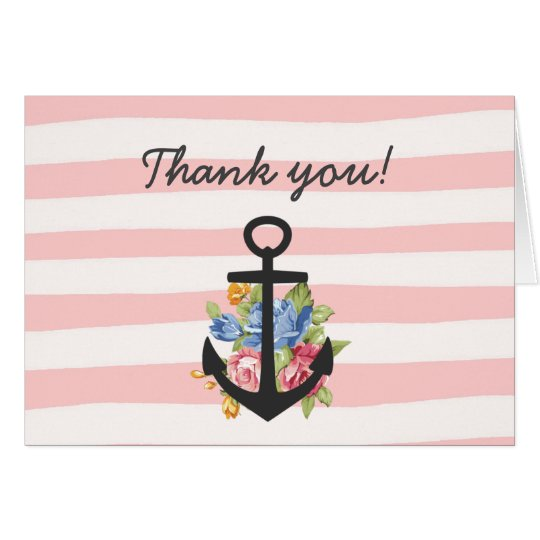 Pink Nautical Anchor Stripe Thank You Note Card