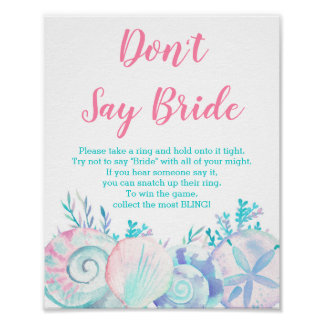 Pink Nautical Beach Don't Say Bride Game Poster