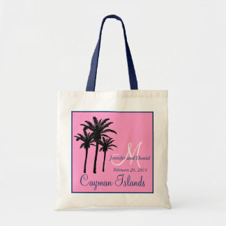 Pink Navy Blue Beach Wedding Palm Trees