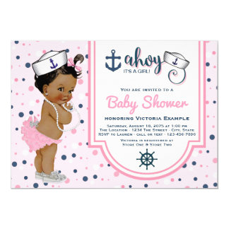 Pink Navy Blue Ethnic Girl Nautical Baby Shower Card