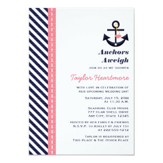 Pink Navy Blue Nautical Bridal Shower Invitations