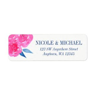 Pink Navy Blue Watercolor Flowers Return Address Label