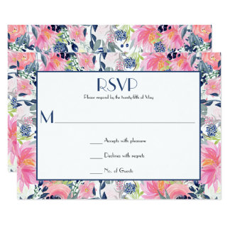 Pink Navy Blue Watercolor Flowers RSVP Card
